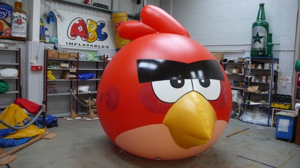 inflatable angry bird in workshop