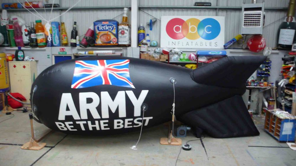 Black army blimp showing slogan 'Be the Best'
