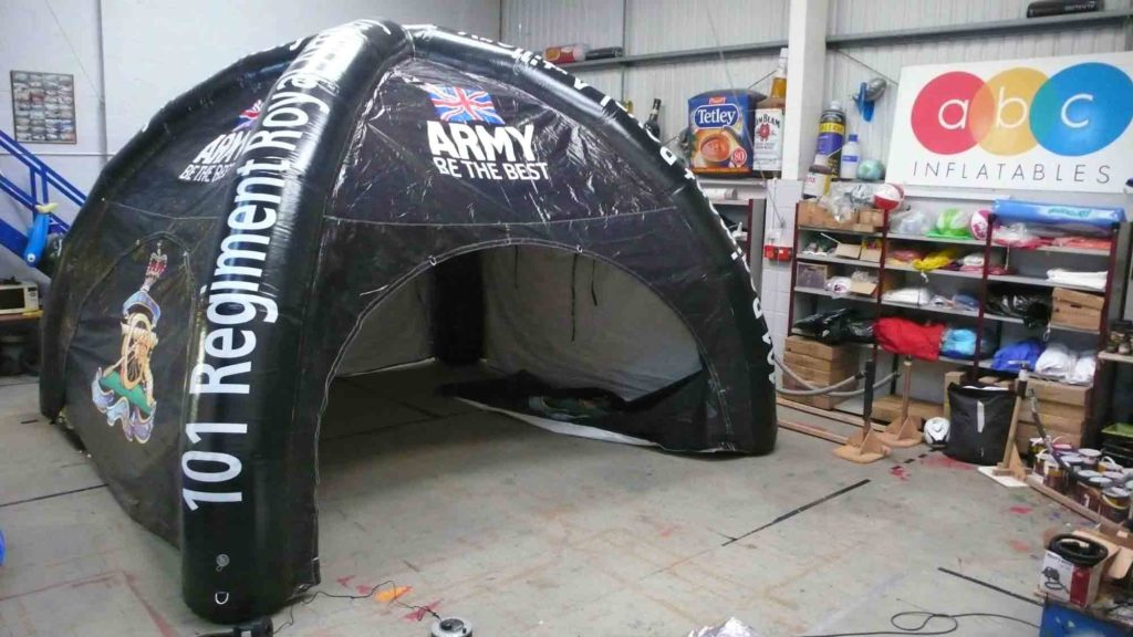 We made this black inflatable tent for the army