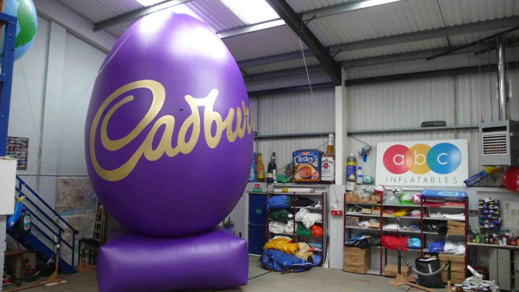 The bespoke inflatable Cadbury Easter egg in our workshop