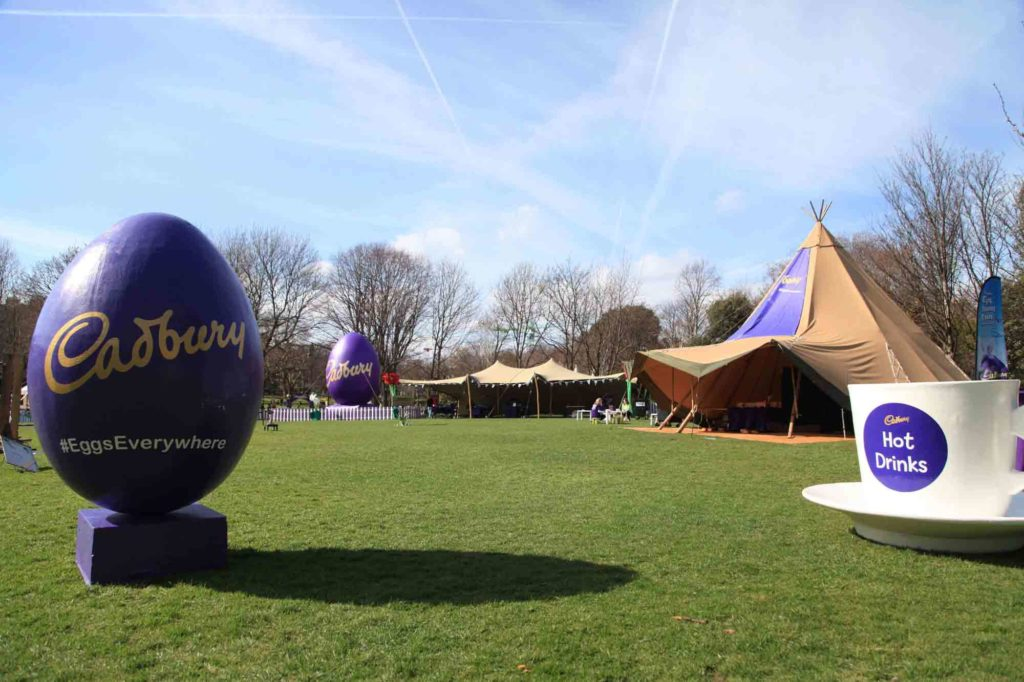 Bespoke inflatable Cadbury Easter egg in the distance