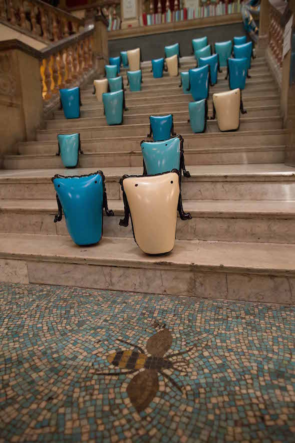 Amy Pennington's inflatable characters on steps at Battersea Arts Centre