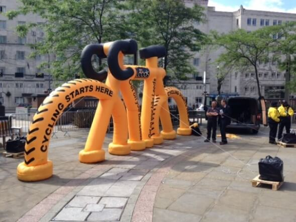 Inflatable bike marking the Tour de France's start in Leeds