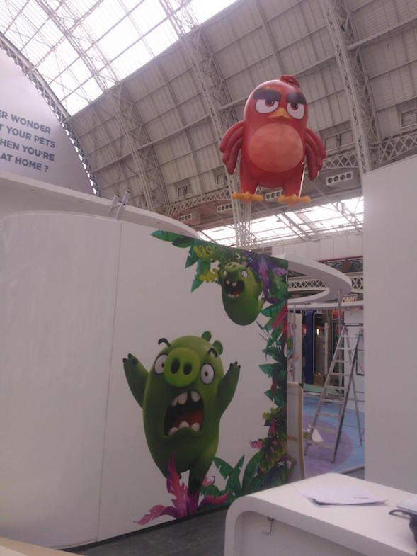 inflatable Angry Bird at Brand Licensing show