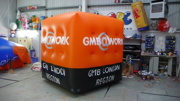 inflatable cube in workshop