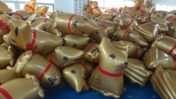 inflatable gold lindt bunnies