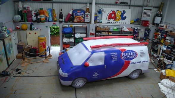 inflatable plumbers van in workshop