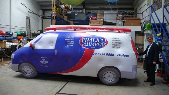 Pimlico plumbers inflatable van for exhibition