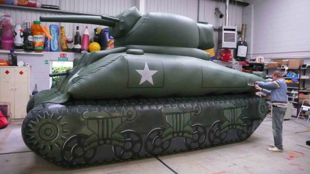 Inflatable tank in workshop