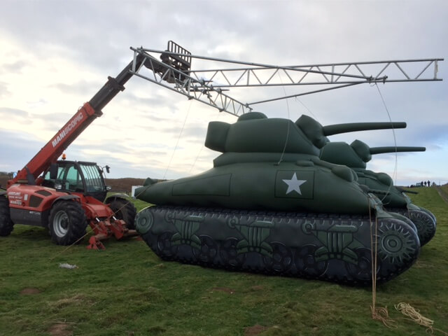 inflatable tank in field
