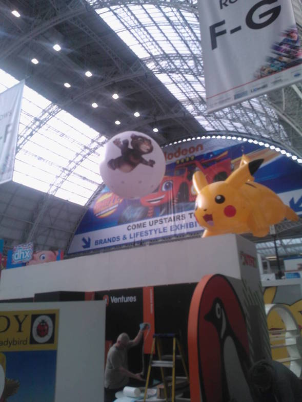inflatable characters at Brand Licensing show