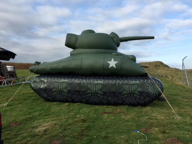 inflatable tank tethered at corners