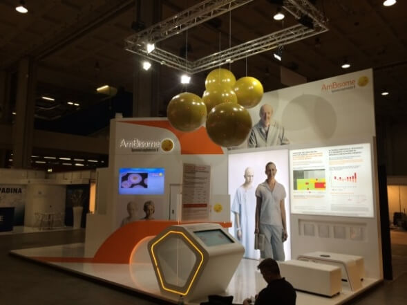 medical show stand with inflatable spheres suspended above