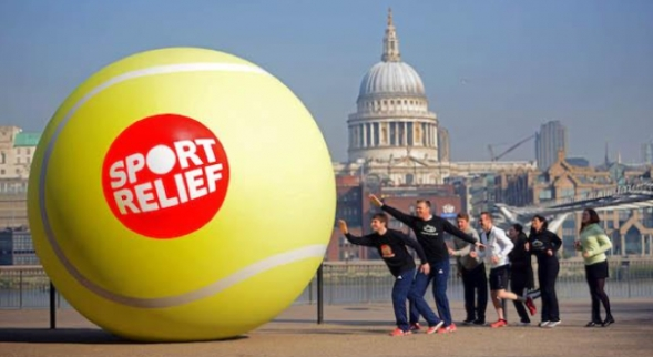 Inflatable tennis ball with sport relief logo