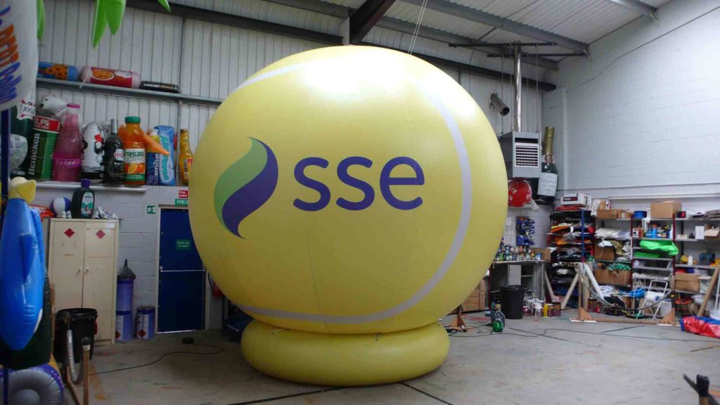 Giant inflatable tennis ball with SSE logo