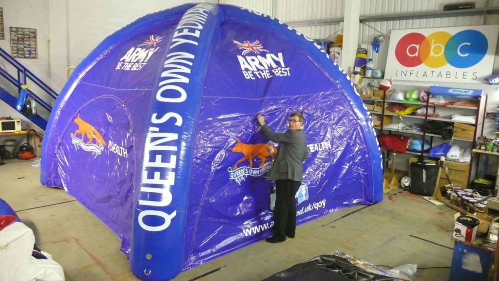This blue inflatable tent was made by ABC for the army