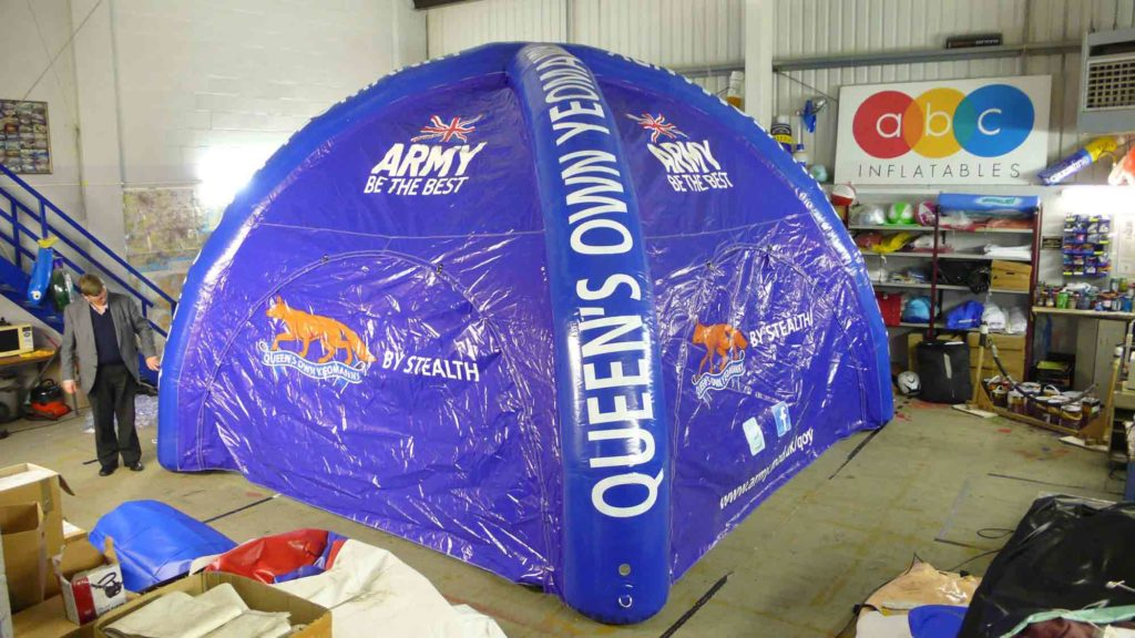 The British Army asked us to make this blue inflatable tent