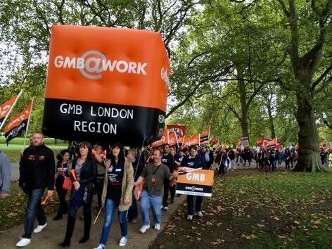 GMB union demonstrating with large inflatable cube