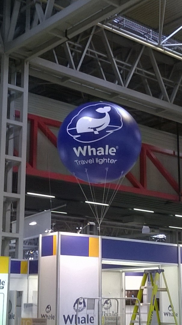 Inflatable sphere above Whale Pumps stand at the Caravan and Camping show at the NEC