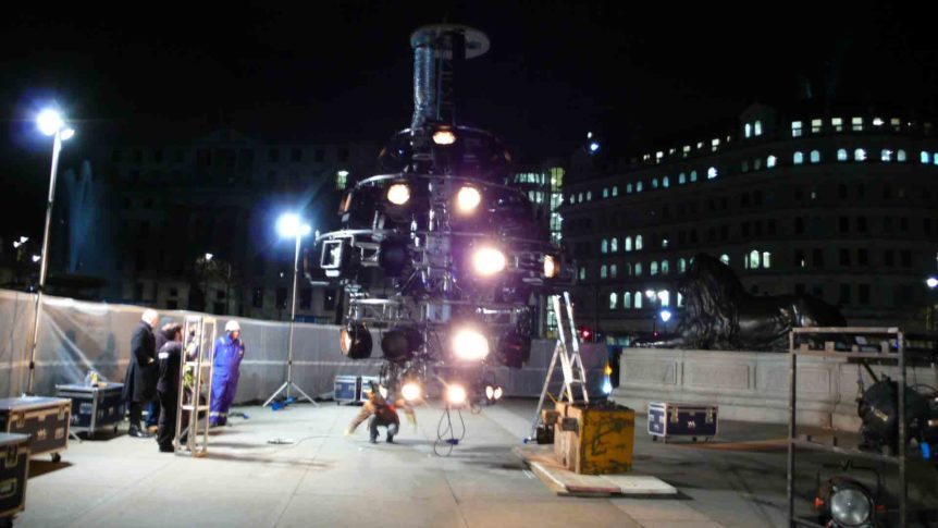 Lighting rig in Trafalgar Square