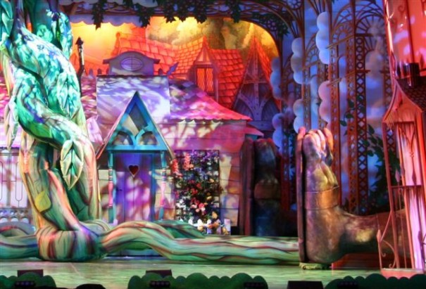 Inflatable beanstalk on theatre stage