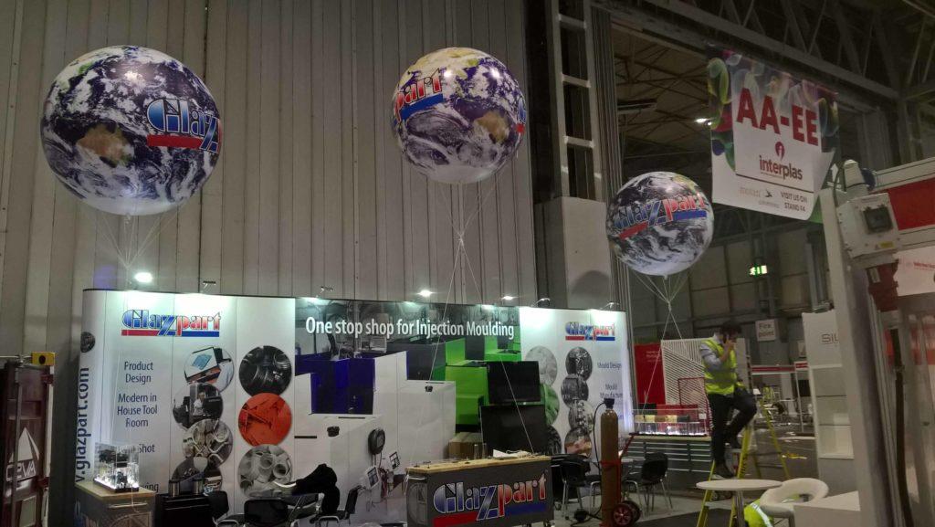 three Glazpart exhibition spheres