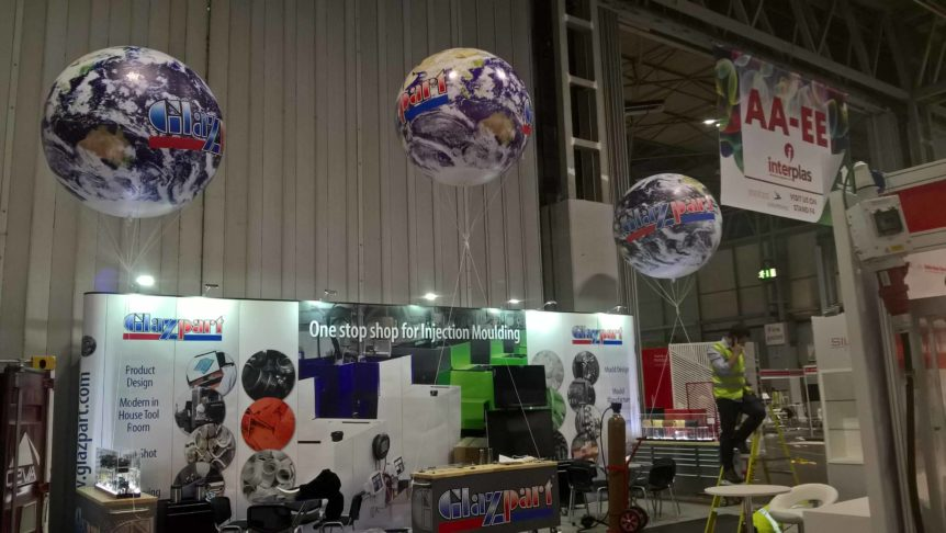 3 exhibition spheres for Glazpart, helium filled