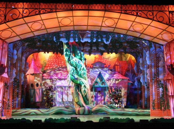 panto stage with inflatable beanstalk