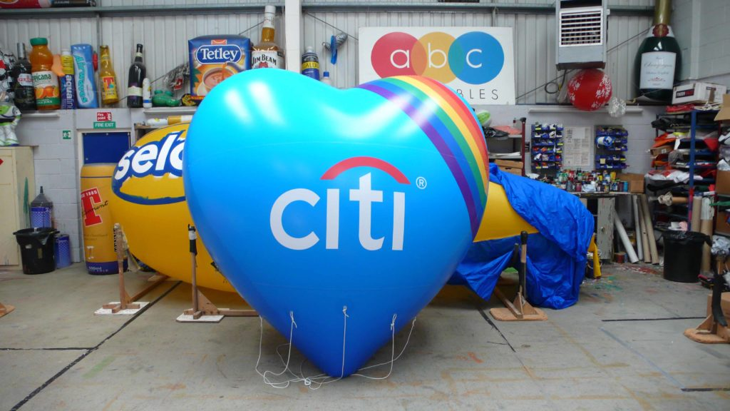 inflatable heart with citi logo