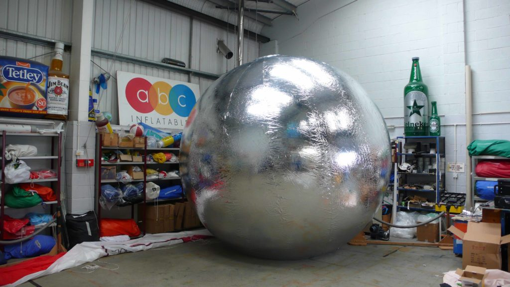giant silver inflatable mirror balls sphere