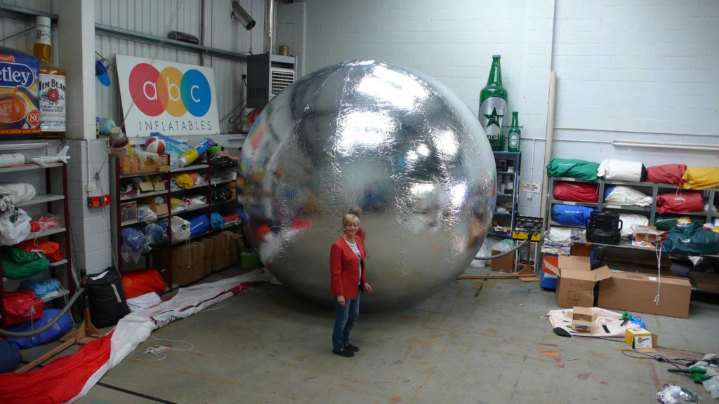 one of the inflatable mirror balls in workshop