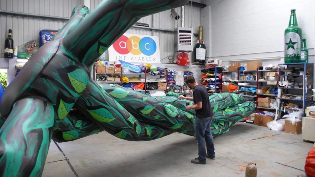 Painting inflatable beanstalk