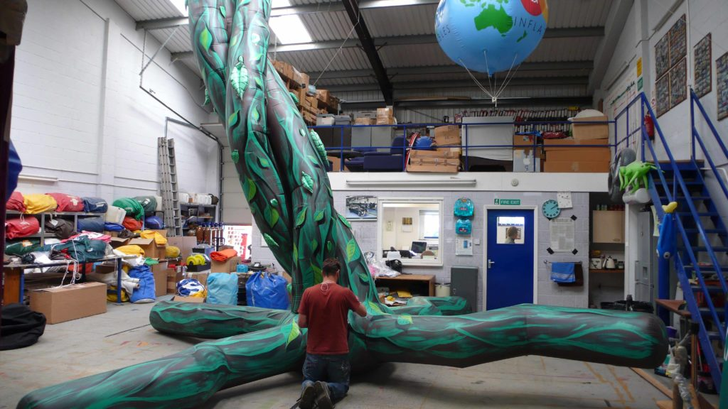 Artworking inflatable beanstalk