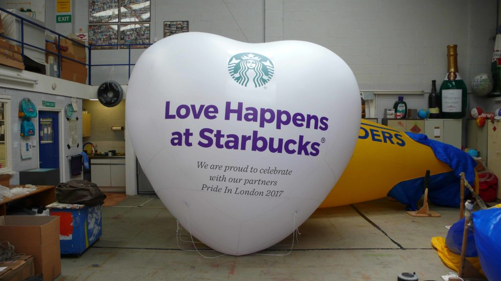 inflatable heart with starbucks logo