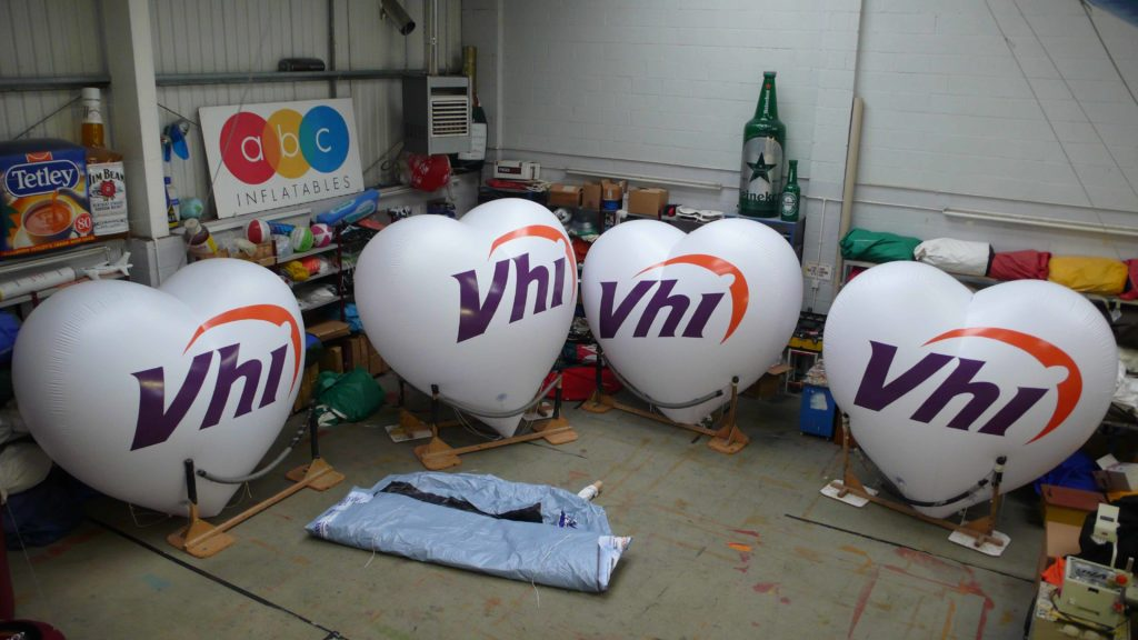 inflatable hearts with VHI logo