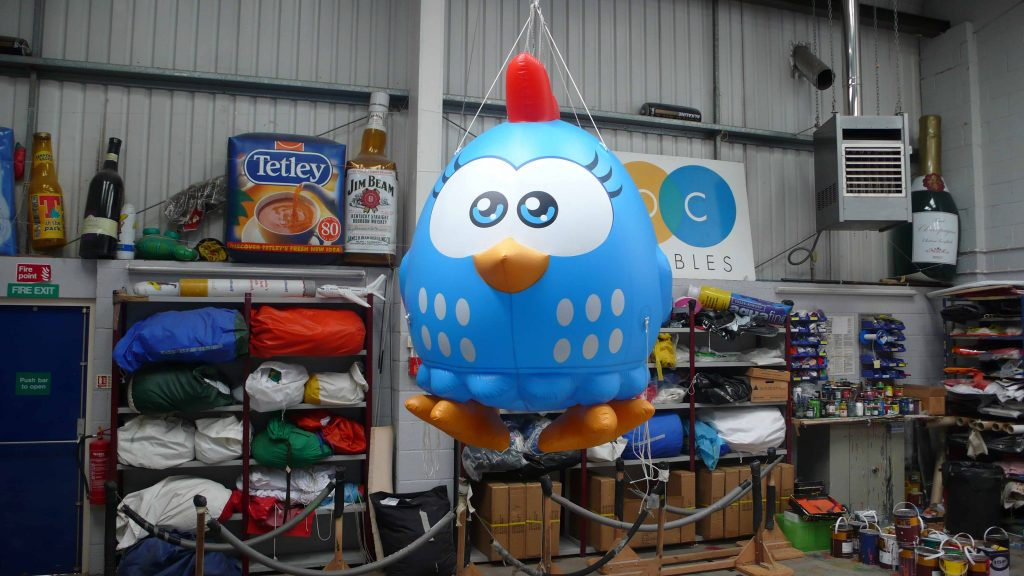 Giant inflatable Lottie Dottie Chicken in ABC Inflatables workshop