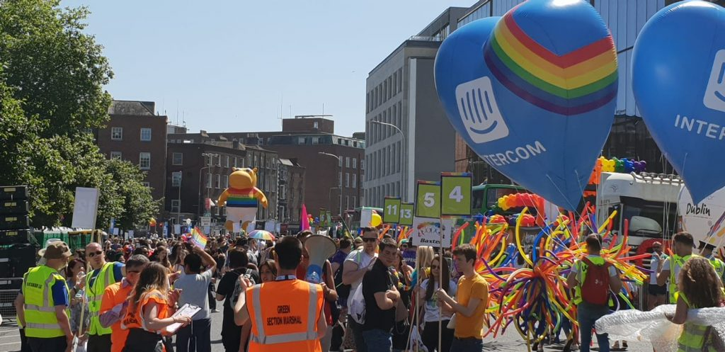 Dublin Pride march with inflatable hearts