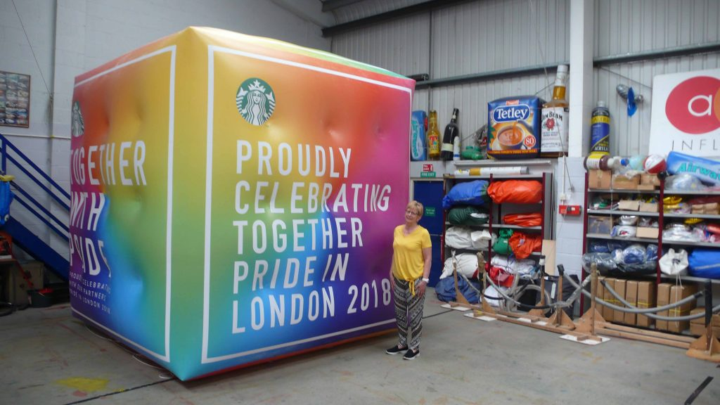 Parade inflatables cube for Starbucks