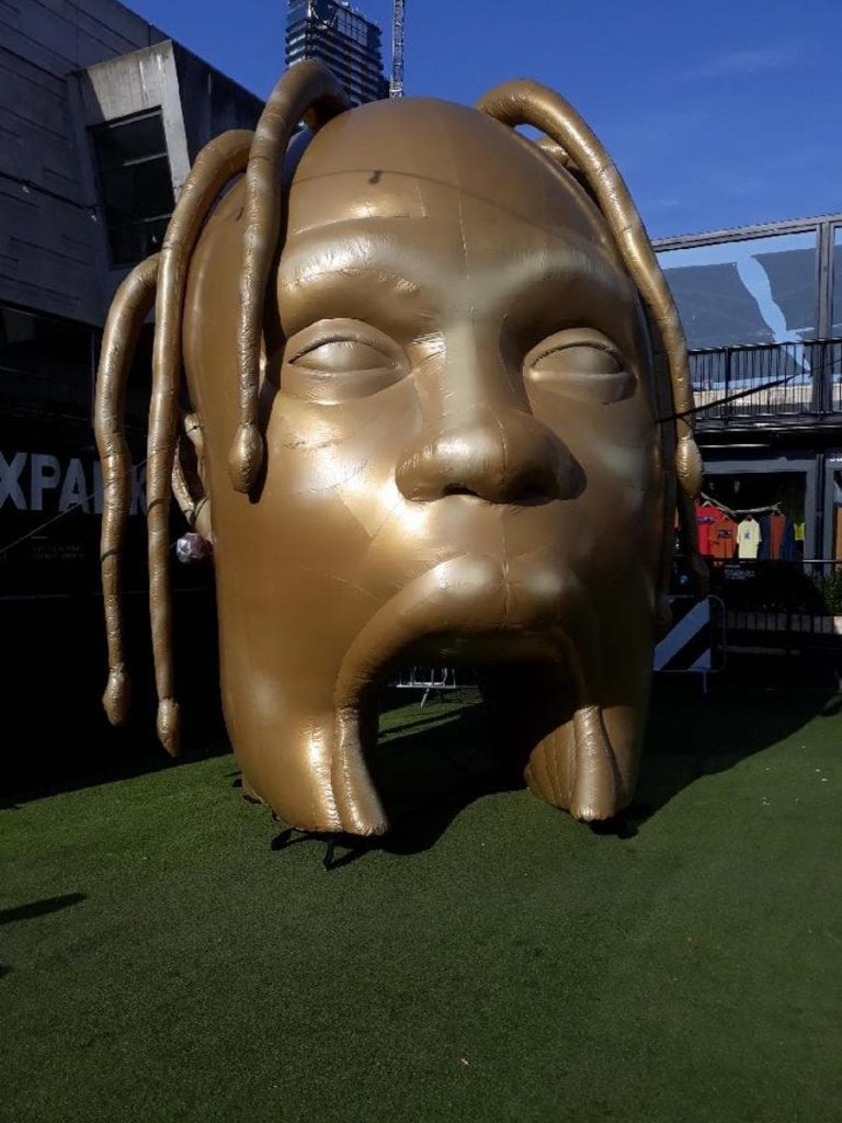 cold air-filled inflatables Travis Scott head