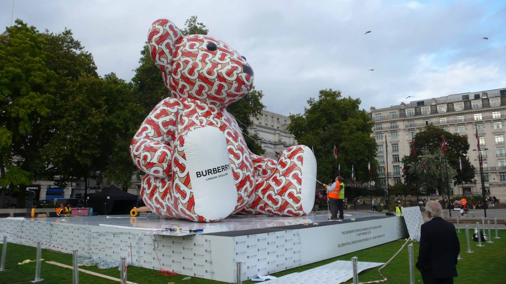 Testing the attachment points on Burberry Bear