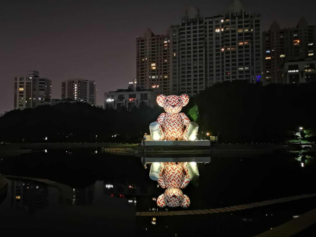 Burberry Bear inflatables at night