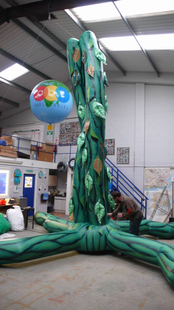 Inflatable beanstalk in workshop
