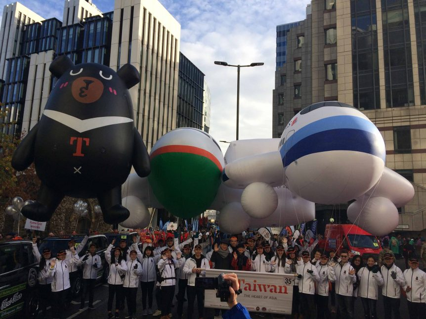 Lord Mayor's Show inflatable bear and aeroplanes