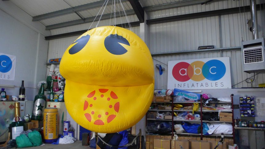 Inflatable Pacman suspended in workshop