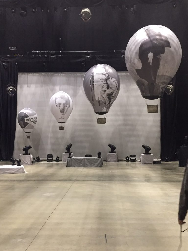 hot air balloons on stage