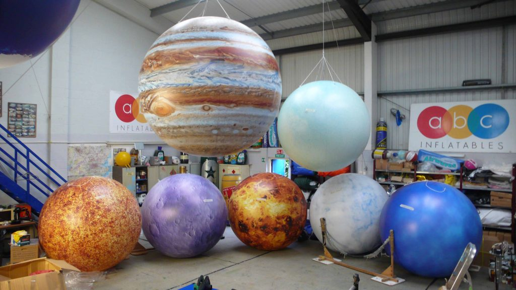 ABC inflatable spheres like planets
