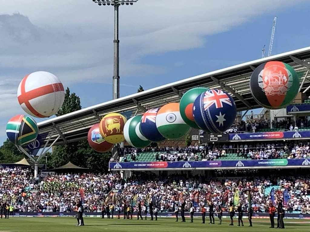 inflatable cricket balls showing world flags