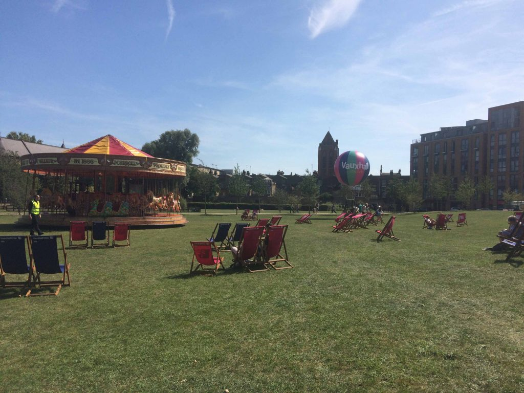 vauxhall park with carousel and air balloon