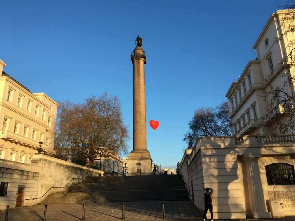 chubby heart flying by nelsons column