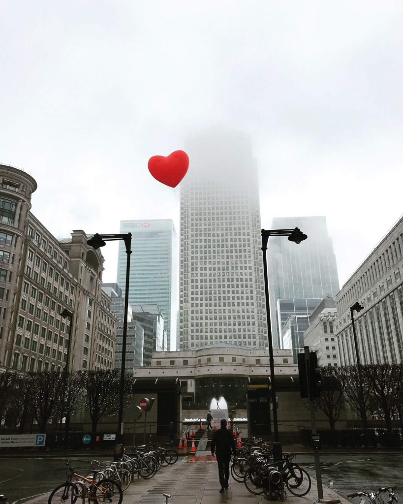 cabot square with flying chubby heart